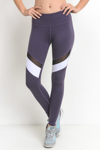 Dark Violet Color-block Mesh Full Leggings - Nofashiondeadlines