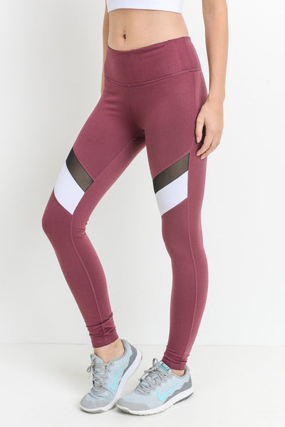 Deep Plum Color-block Mesh Full Leggings - Nofashiondeadlines