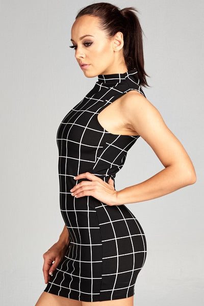 Ivory Grid Print High Neck Body-con Dress