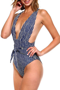 Striped Deep V Front Tie One Piece Swimsuit