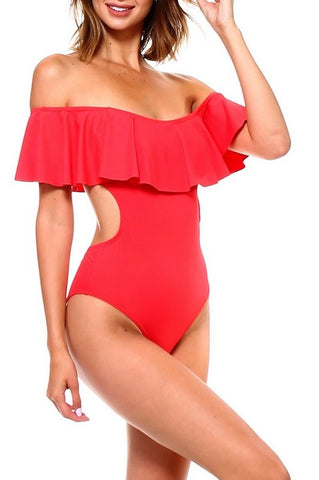 Red Off The Shoulder One Piece Swimsuit - Nofashiondeadlines