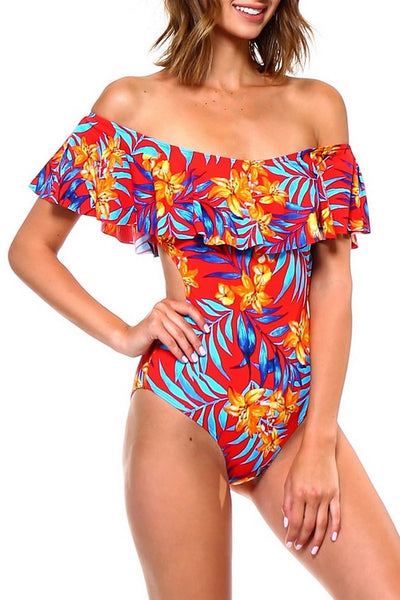 Red Floral Print Off The Shoulder One Piece Swimsuit - Nofashiondeadlines
