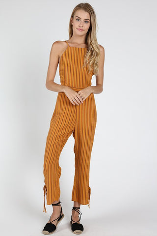 Gold Tie Back Striped Jumpsuit