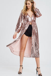 Pink Sequin Cover Up Dress