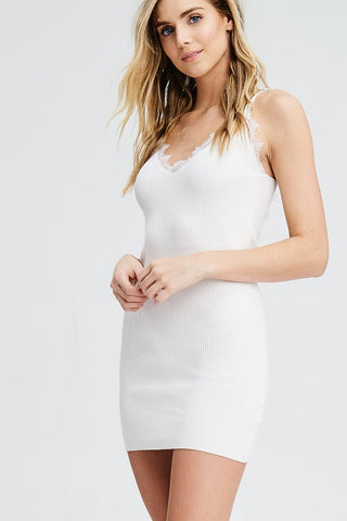 White Lace Trim Sleeveless Body-con Dress