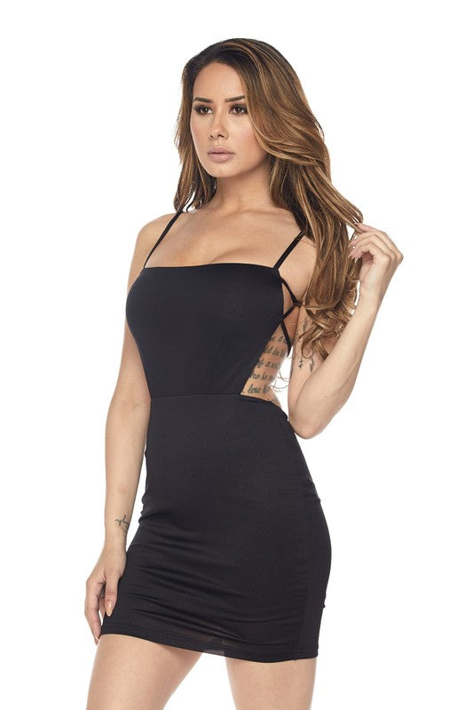 Black Sparkly Detail Body-con Dress - Nofashiondeadlines