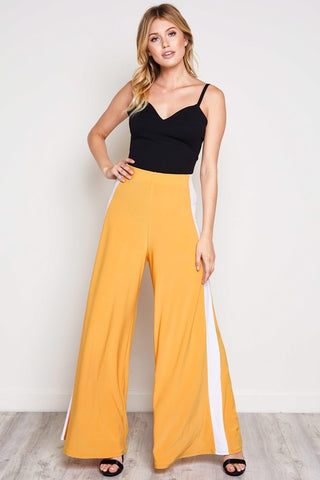 Mustard Side Contrast Wide Leg Pants