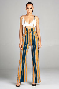Mustard Shoulder Straps Striped Pants