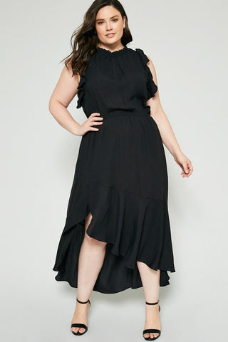 Black Plus Size Asymmetrical Ruffle Midi Dress
