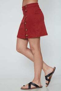 Red Button Down Mini Skirt