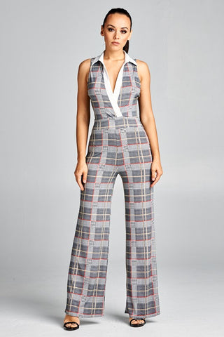 Hounds-tooth Plaid Print Jumpsuit