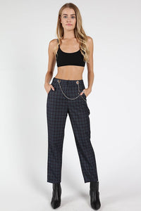 Chain Detail Plaid Print Pants - Nofashiondeadlines