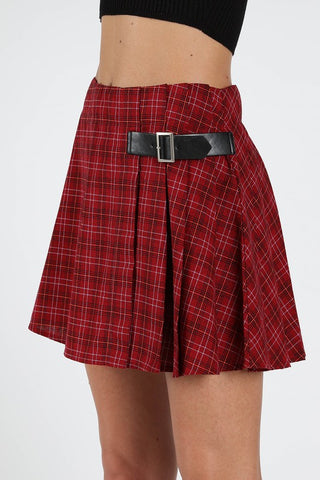 Red Plaid Print Buckle Detail Skirt