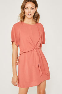 Salmon Mini Tie-Front Shift Dress