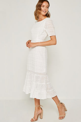 Off White Eyelet Ruffle Midi Dress - Nofashiondeadlines