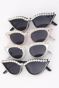 Cat Eye Sunglasses With Rhinestones - Nofashiondeadlines