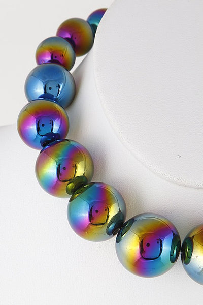 Holographic Style Beaded Fashion Necklace - Nofashiondeadlines