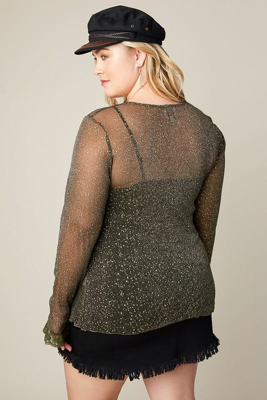 cc7c554bad4 Olive Plus Size Long Sleeve Mesh Top With Star Detail