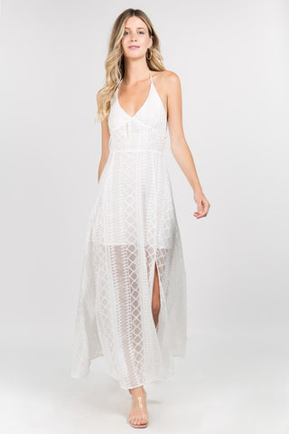 White Lace Style Tie Back Dress