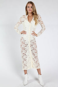 White Sheer Lace Button Down Cardigan