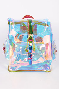 Holographic Mirrored Backpack With Pockets - Nofashiondeadlines
