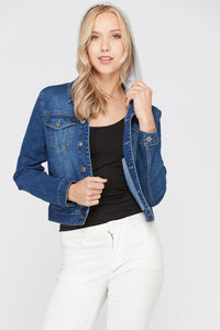 Dark Wash Hooded Denim Jacket
