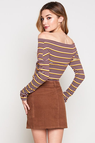 Burgundy Wrapped Style Striped Top - Nofashiondeadlines