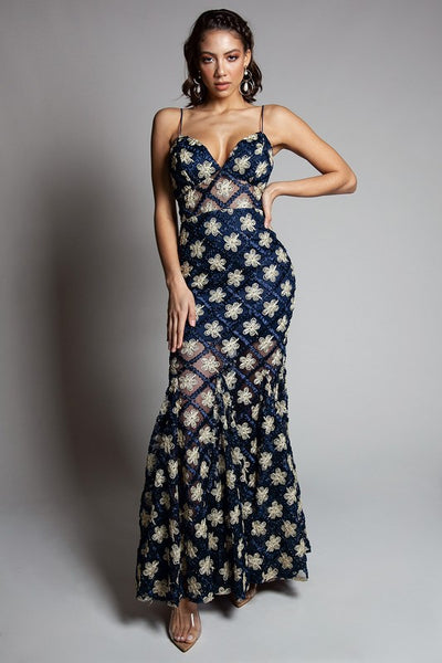 Navy Lace Detail Floral Maxi Dress