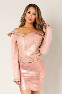 Dusty Pink Faux Leather Fur Sleeve Belted Jacket - Nofashiondeadlines