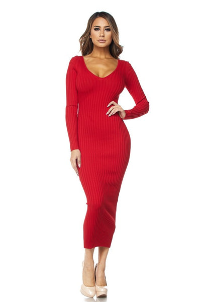 Red Off The Shoulder Knit Midi Dress