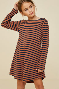 Girls Striped Cut-Out Shirt Dress