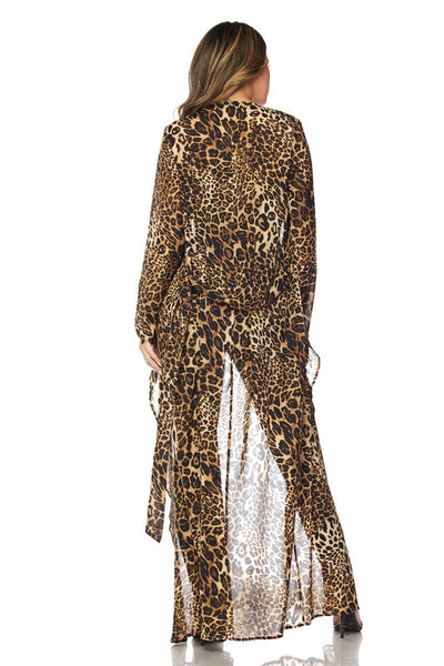 Leopard Duster with Waist Tie
