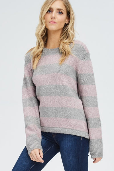 Blush and Grey Striped Sweater Top