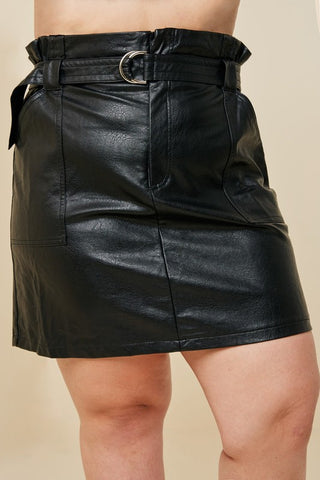 Black Plus Size Belted Paper-bag Mini Skirt