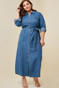 Plus Size Belted Button-Down Denim Maxi Dress