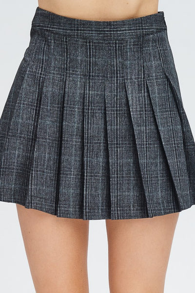 Charcoal Grey Plaid Pleated Skirt - Nofashiondeadlines