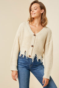 Cream Distressed Hem Button-Down Cropped Cardigan