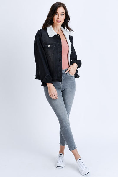 Black Sherpa Collar Denim Jacket