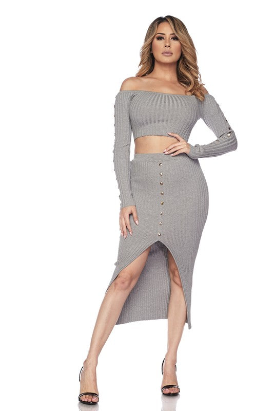 ad2d9a00a0ad6d Heather Grey Button Detail Off The Shoulder Midi Skirt Set