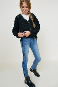 Girls Black Distressed Hem Button-Down Cropped Cardigan