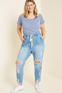 Plus Size Distressed Drawstring Jeans