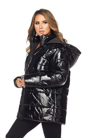 Black Hooded Shinny Style Puffer Jacket - Nofashiondeadlines