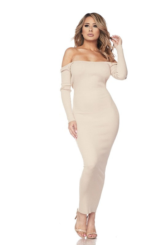 Soft Taupe Open Back Off The Shoulder Dress