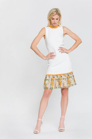 Marigold Sleeveless Embroidery Detail Dress