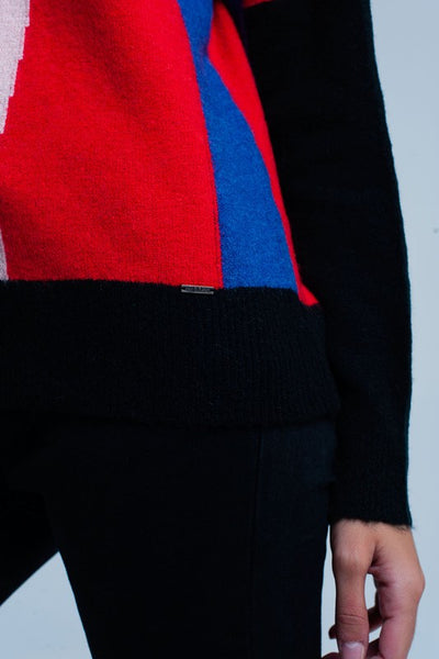 Red and Black Color Blocked Sweater