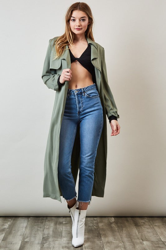 Light Olive Long Trench Coat