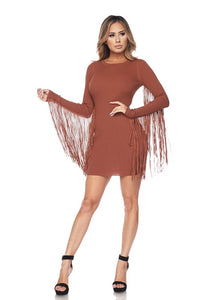 Rust Long Fringe Sleeve Body-con Dress
