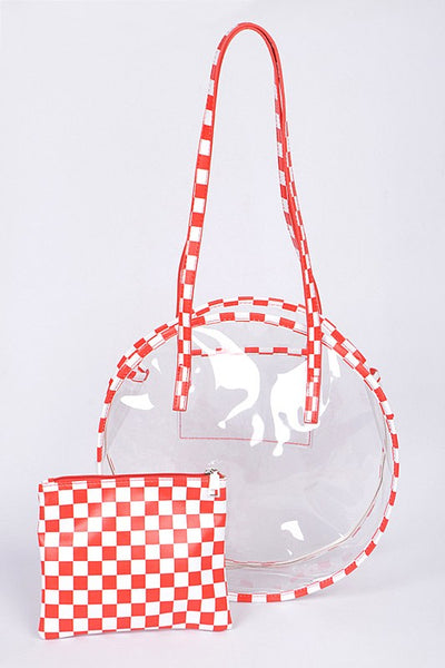 Red Chess Print Clear Clutch