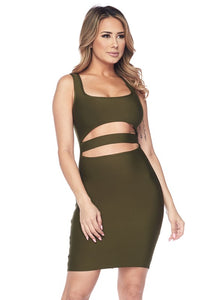 Olive Open Center Bandage Dress
