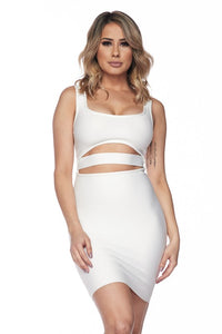White Open Center Bandage Dress